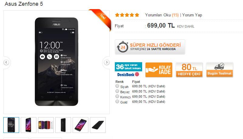 Asus ZenFone Serisi HepsiBurada Adresinde Satışta